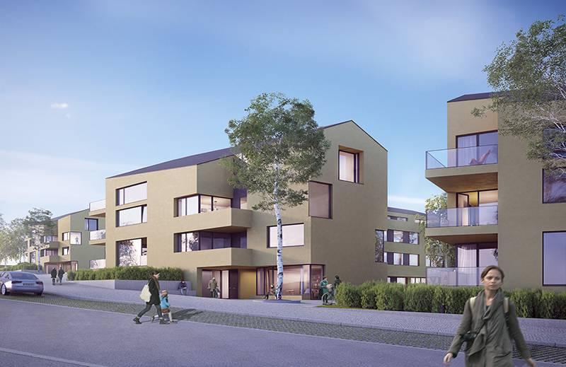 Die Gebäude Sind Als Wohnhäuser Mit Satteldach Geplant, Die Giebelseiten  Sind Schmal, Sodass Gut Proportionierte Fassaden Entstehen.